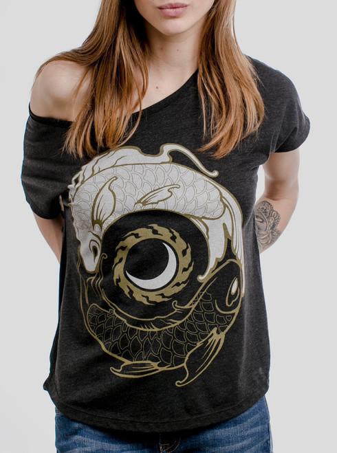 Koi Balance - Multicolor on Heather Black Triblend Womens Dolman T Shirt