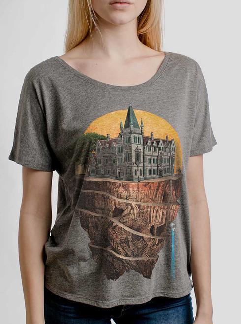 Floating Kingdom - Multicolor on Heather Grey Triblend Womens Dolman T Shirt