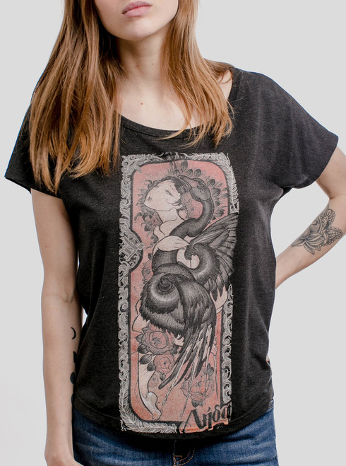 Lady and the Swan - Multicolor on Heather Black Triblend Womens Dolman T Shirt