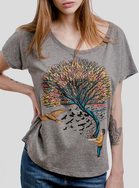 Imagination - Multicolor on Heather Grey Triblend Womens Dolman T Shirt