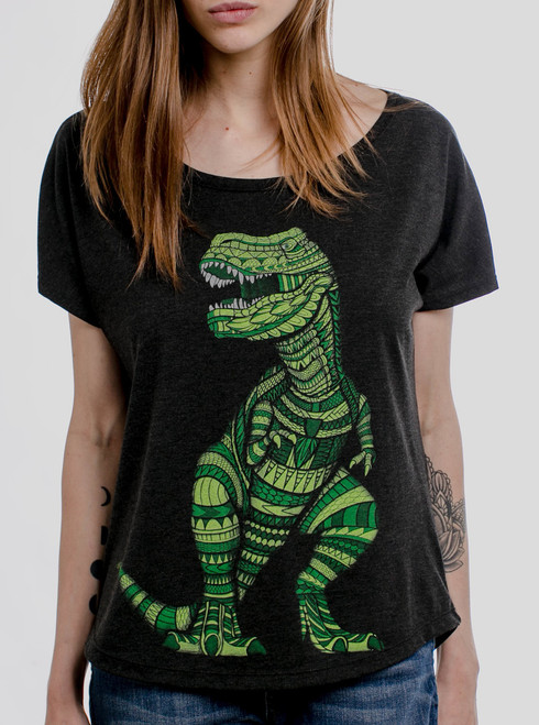 T Rex - Multicolor on Heather Black Triblend Womens Dolman T Shirt