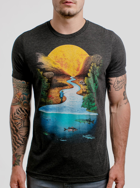 Gone Fishing - Multicolor on Heather Black Triblend Mens T Shirt
