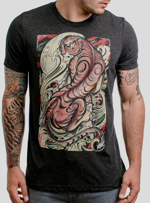 Tigris - Multicolor on Heather Black Triblend Mens T Shirt