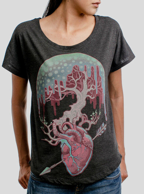 Empathy - Multicolor on Heather Black Triblend Womens Dolman T Shirt