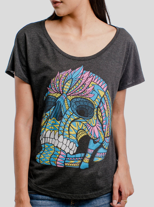 Cranium - Multicolor on Heather Black Triblend Womens Dolman T Shirt