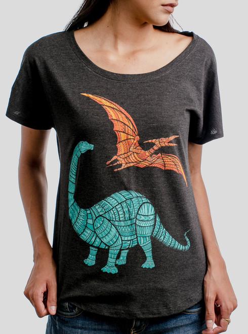 Dinos - Multicolor on Heather Black Triblend Womens Dolman T Shirt