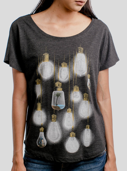 Light Bulbs - Multicolor on Heather Black Triblend Womens Dolman T Shirt
