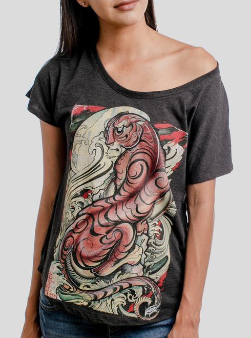 Tigris - Multicolor on Heather Black Triblend Womens Dolman T Shirt