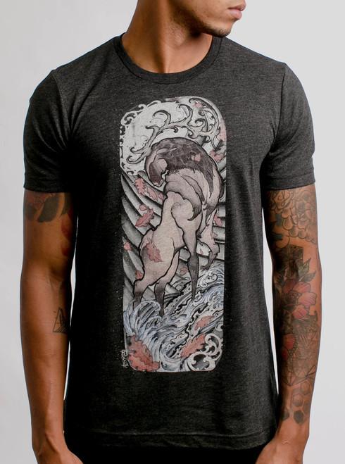 Elk - Multicolor on Heather Black Triblend Mens T Shirt