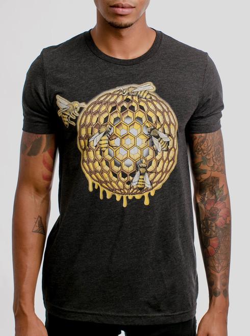 Honeycomb - Multicolor on Heather Black Triblend Mens T Shirt
