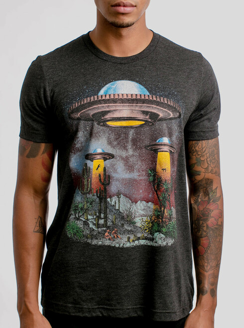 UFOs - Multicolor on Heather Black Triblend Mens T Shirt