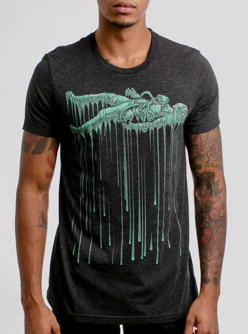 Astro Drip - Multicolor on Heather Black Triblend Mens T Shirt