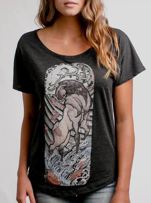Elk - Multicolor on Heather Black Triblend Womens Dolman T Shirt