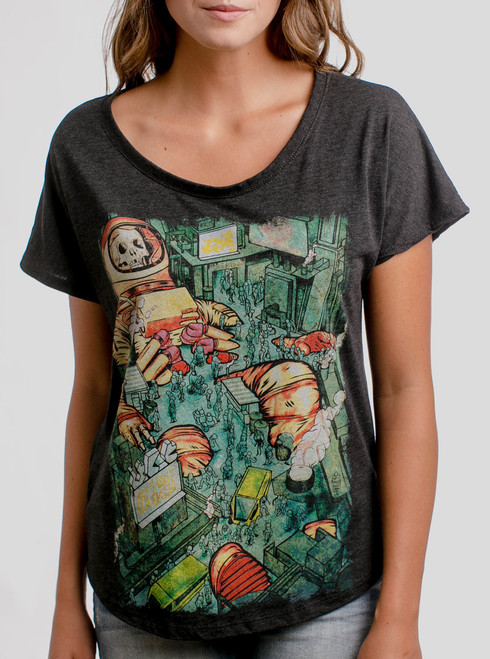Dead Astro City - Multicolor on Heather Black Triblend Womens Dolman T Shirt