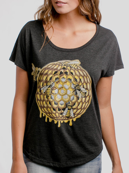 Honeycomb - Multicolor on Heather Black Triblend Womens Dolman T Shirt