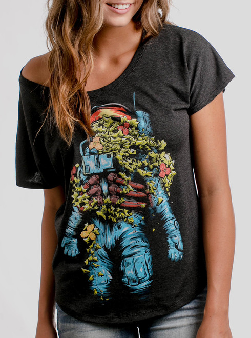 Astro Bloom - Multicolor on Heather Black Triblend Womens Dolman T Shirt