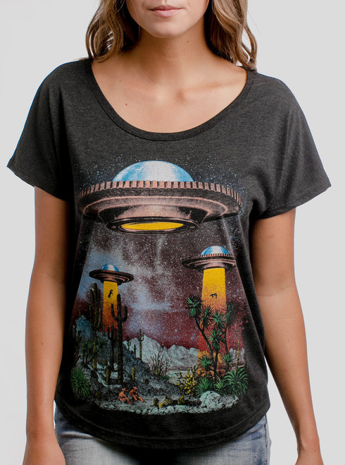 UFOs - Multicolor on Heather Black Triblend Womens Dolman T Shirt