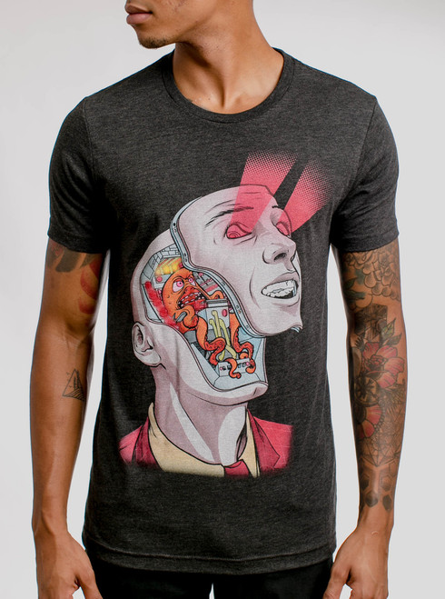 Face Off - Multicolor on Heather Black Triblend Mens T Shirt