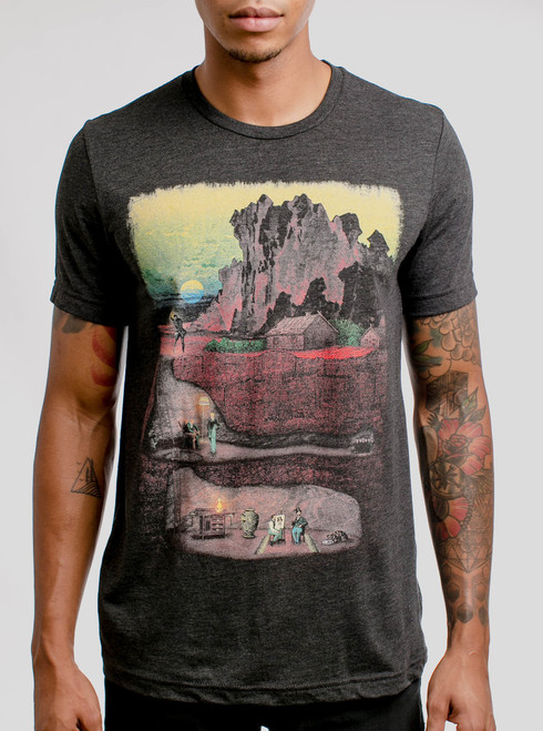 Dig In - Multicolor on Heather Black Triblend Mens T Shirt