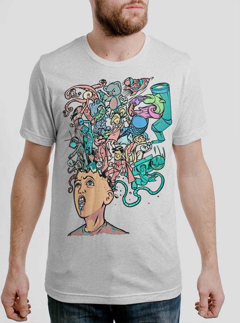 Mind Blown - Multicolor on Heather White Triblend Mens T Shirt