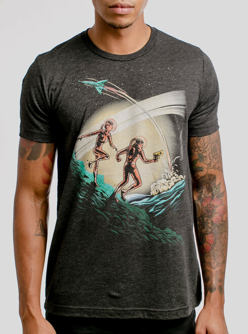 Space Travelers - Multicolor on Heather Black Triblend Mens T Shirt