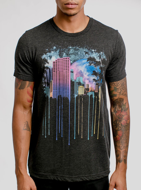 The City - Multicolor on Heather Black Triblend Mens T Shirt