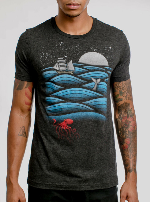 Sea Life - Multicolor on Heather Black Triblend Mens T Shirt