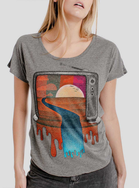 Tv Time - Multicolor on Heather Grey Triblend Womens Dolman T Shirt
