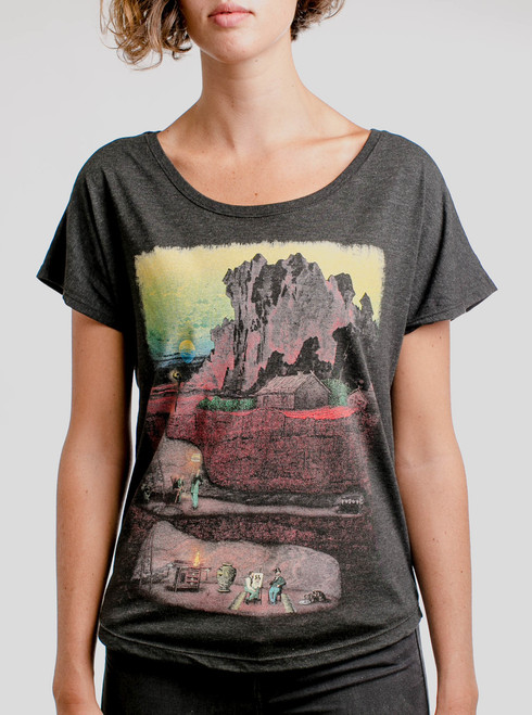 Dig In - Multicolor on Heather Black Triblend Womens Dolman T Shirt