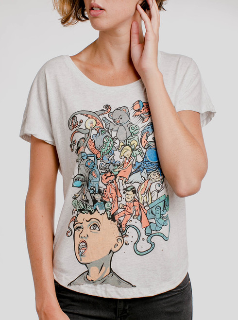 Mind Blown - Multicolor on Heather White Triblend Womens Dolman T Shirt