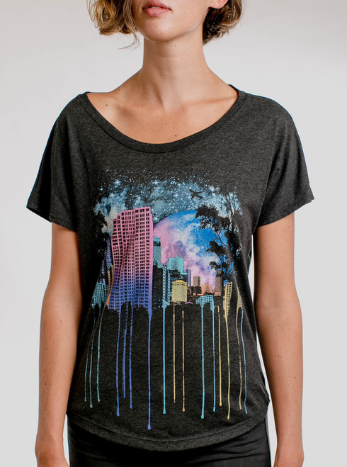The City - Multicolor on Heather Black Triblend Womens Dolman T Shirt