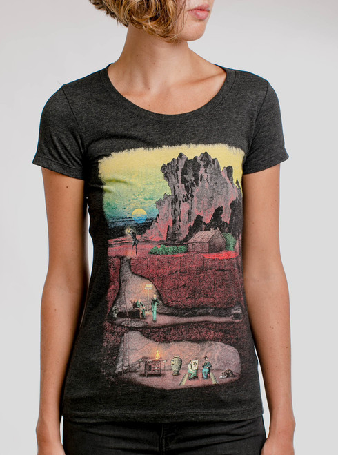 Dig In - Multicolor on Heather Black Triblend Womens T-Shirt