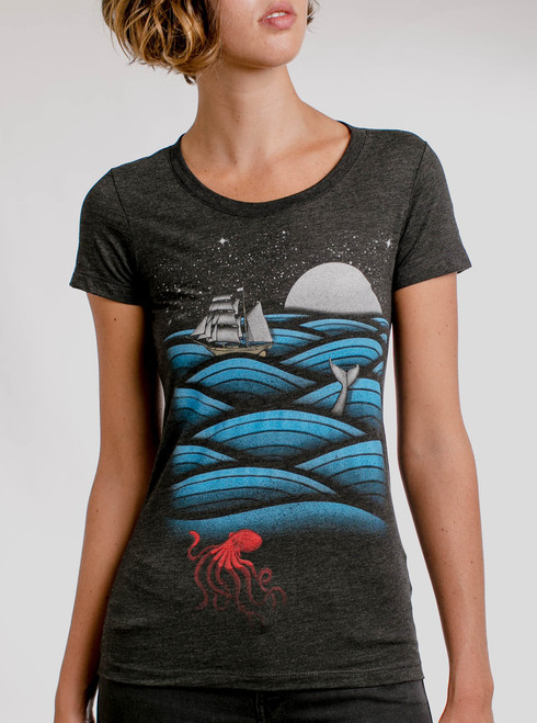 Sea Life - Multicolor on Heather Black Triblend Womens T-Shirt
