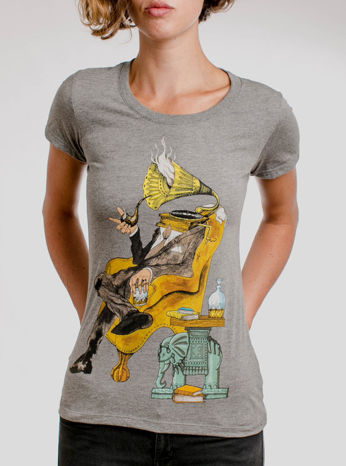 Music Man - Multicolor on Heather Grey Triblend Womens T-Shirt