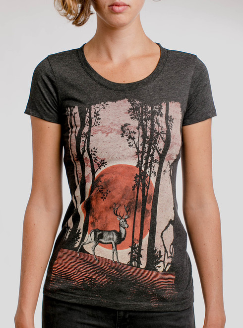 Buck Moon - Multicolor on Heather Black Triblend Womens T-Shirt