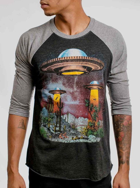 UFOs - Multicolor on Heather Black and Grey Triblend Raglan