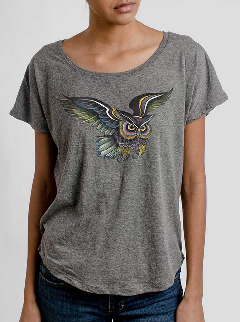 Little Owl - Multicolor on Heather Grey Triblend Womens Dolman T Shirt