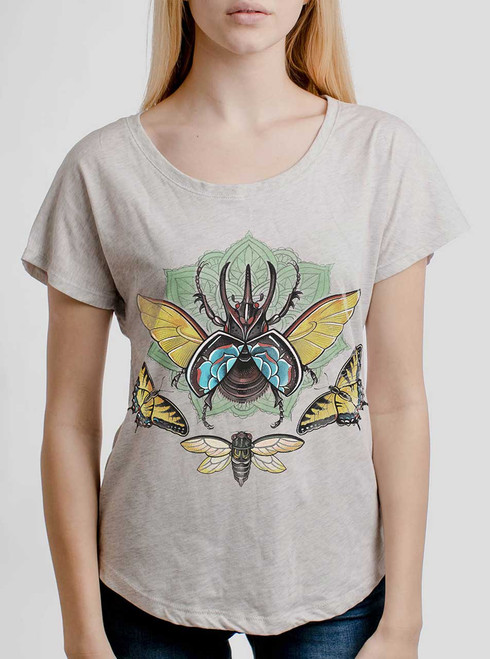 Atlas Beetle - Multicolor on Heather White Triblend Womens Dolman T Shirt