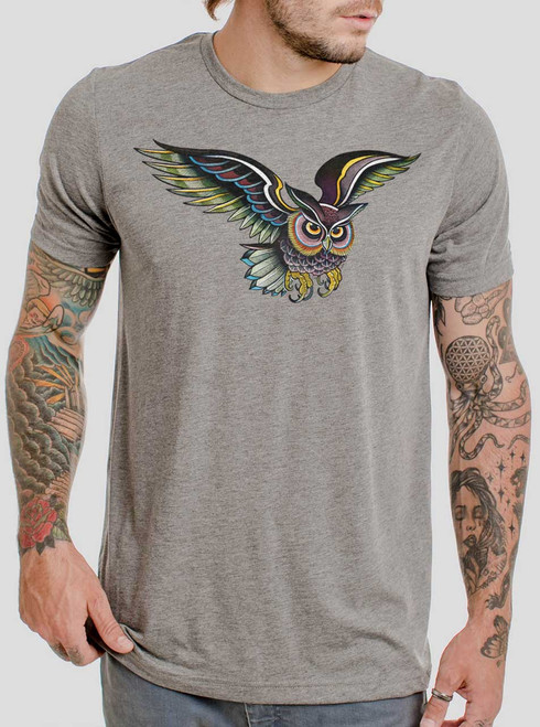Little Owl - Multicolor on Heather Grey Triblend Mens T Shirt