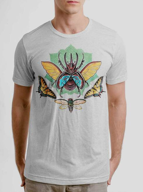 Atlas Beetle - Multicolor on Heather White Triblend Mens T Shirt