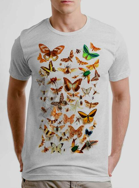 Bugs - Multicolor on Heather White Triblend Mens T Shirt