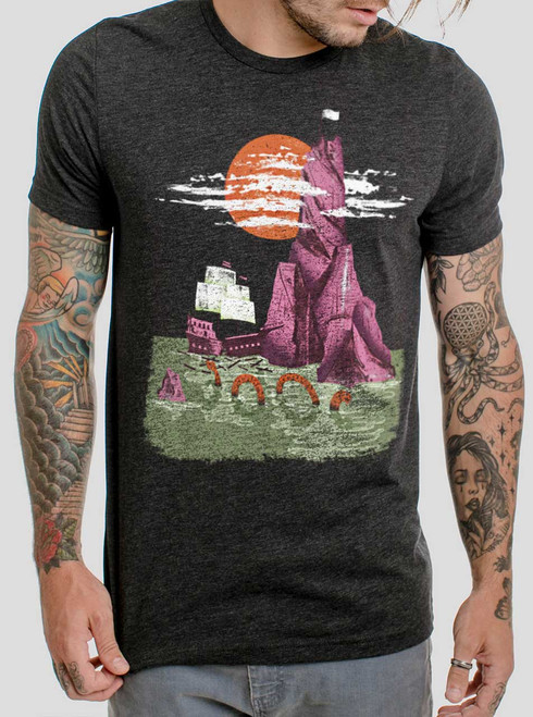 Shipwreck - Multicolor on Heather Black Triblend Mens T Shirt