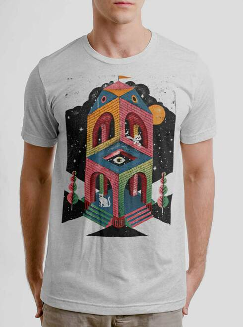 Space Cathedral - Multicolor on Heather White Triblend Mens T Shirt