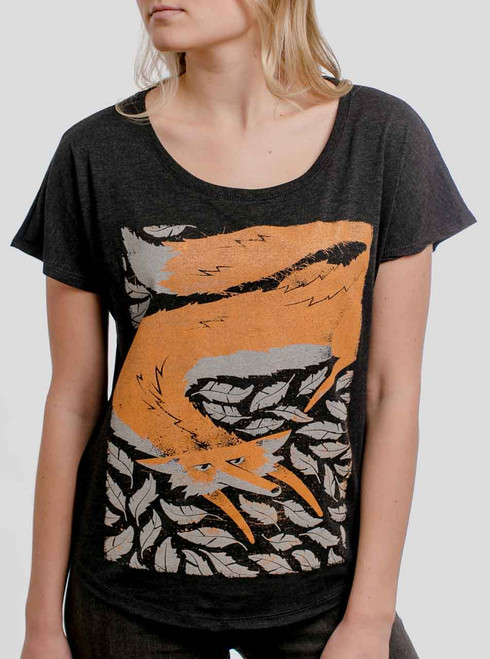 Fox in the Henhouse - Multicolor on Heather Black Triblend Womens Dolman T Shirt