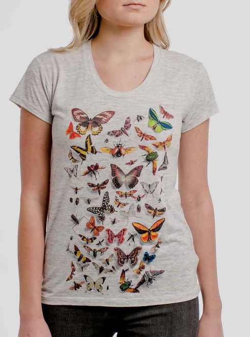 Bugs - Multicolor on Heather Oatmeal Womens Relaxed Fit T Shirt