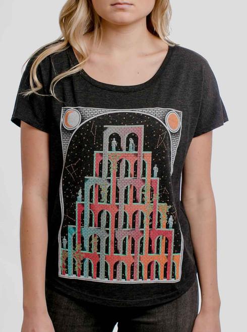 Mystic Castle - Multicolor on Heather Black Triblend Womens Dolman T Shirt