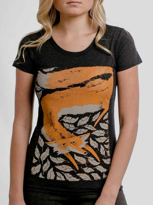 Fox in the Henhouse - Multicolor on Heather Black Triblend Junior Womens T-Shirt
