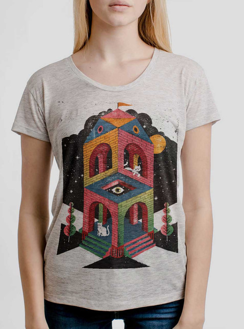 Space Cathedral - Multicolor on Heather Oatmeal Womens Relaxed Fit T Shirt