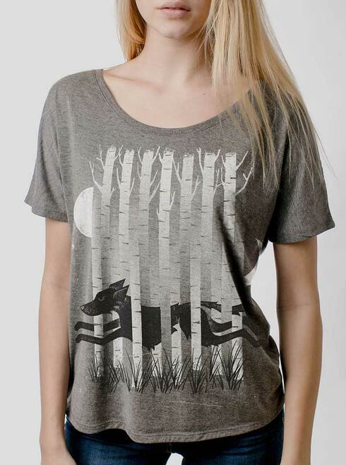 Ghost Hound  - Multicolor on Heather Grey Triblend Womens Dolman T Shirt