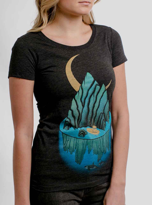 Lost at Sea - Multicolor on Heather Black Triblend Womens T-Shirt